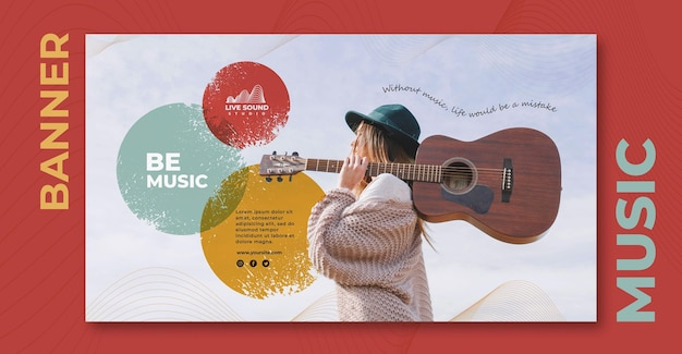Music horizontal banner template with photo of girl holding a guitar