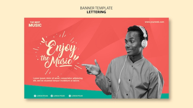 Music horizontal banner template Free Psd