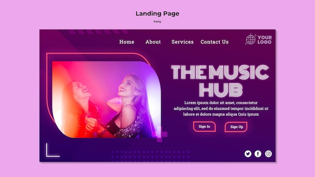The music hub party landing page