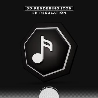 음악 아이콘 3d 버튼 효과 렌더링
