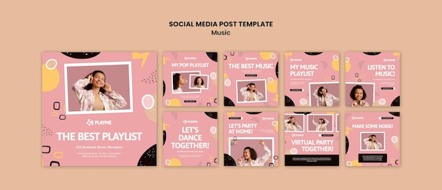 Music instagram post templates with photo