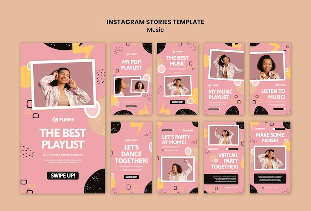 Music instagram story templates with photo