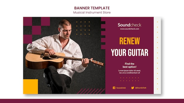 Music instrument concept banner template