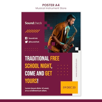 Music instrument concept poster template