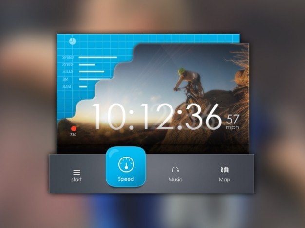 Music interface with blue progress bars