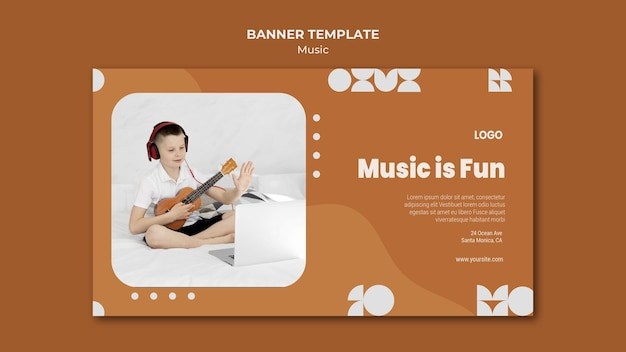 Music is fun boy playing ukulele banner Free Psd