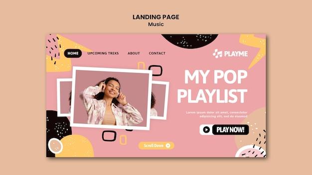 Музыкальный шаблон целевой страницы с фото