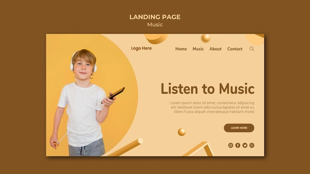 Music landing page web template