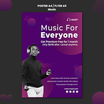 Music listening flyer template