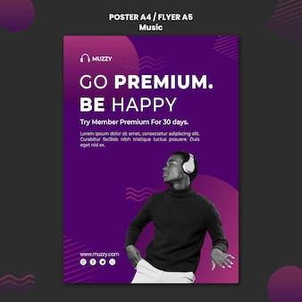 Music listening poster template