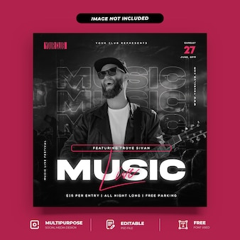 Music live with paper style social media post template