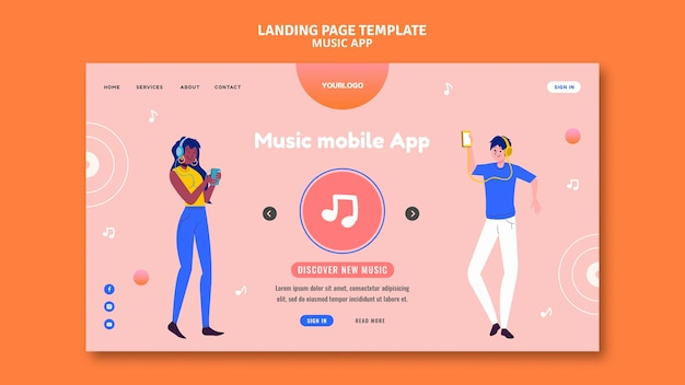 Music mobile app landing page template
