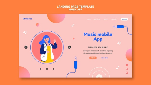 Music mobile app landing page template Free Psd