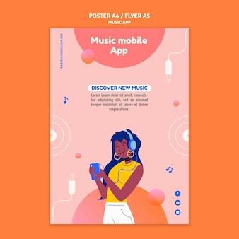 Music mobile app print template Free Psd