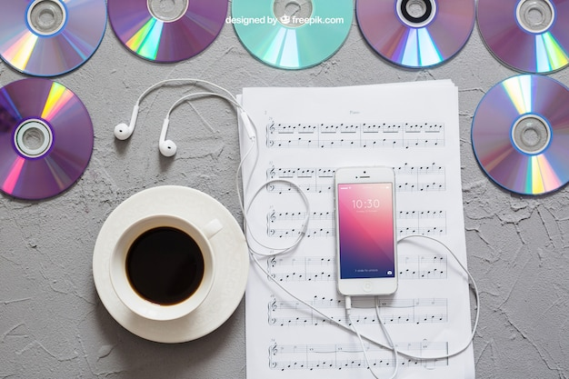 Music mockup smartphone on notes