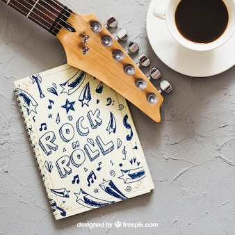 Music mockup with guitar