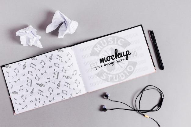 Music notebook open