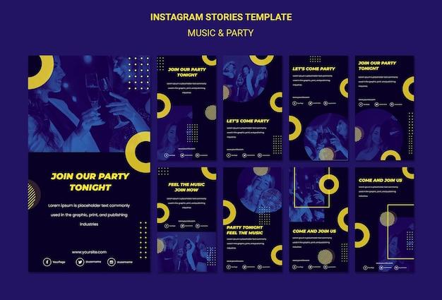 Modello di storie di instagram di concetto di musica e festa