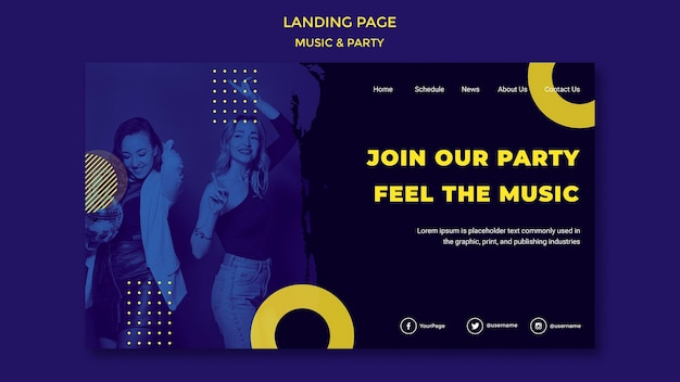 Music & party concept landing page template