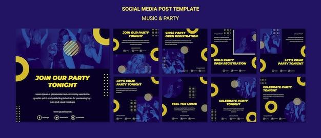 Modello di post sui social media per il concetto di musica e festa