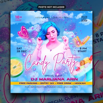 Музыкальная вечеринка флаер сообщение в социальных сетях и веб-баннер