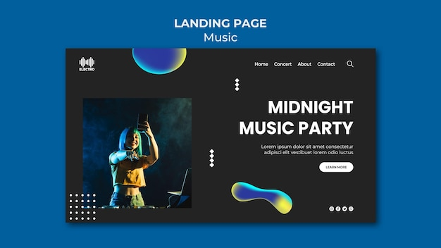 Modello di pagina di destinazione della festa musicale