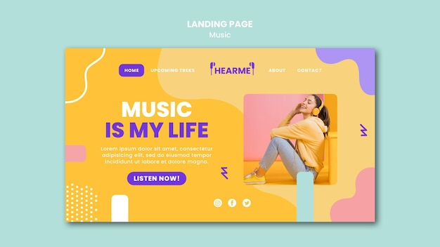 Шаблон целевой страницы музыкальной платформы