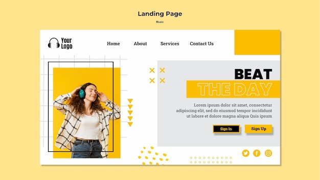 Music platform landing page template