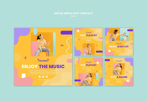 Modello di post sui social media della piattaforma musicale