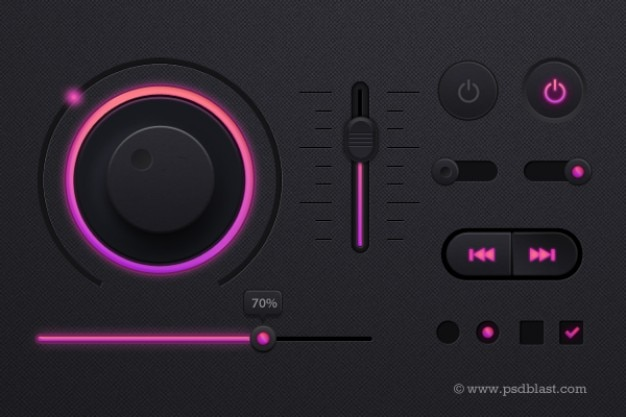 Music player in dark theme psd