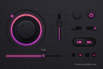 Music Player in dark theme PSD