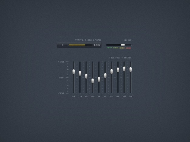 Music player ui elements psd