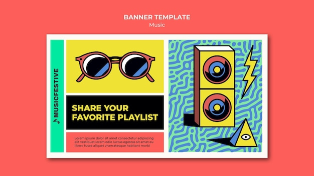 Music playlist banner template