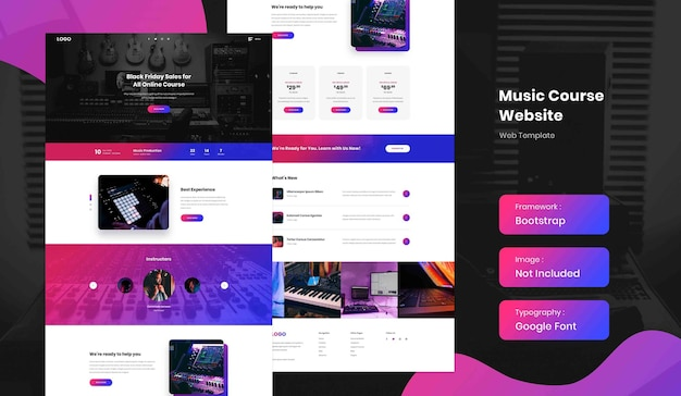 Music production online course landing page website template