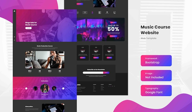 Шаблон целевой страницы онлайн-курса по производству музыки