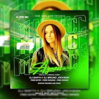 음악 소셜 미디어 게시물 및 인스타그램 배너 프로모션 템플릿 premium psd