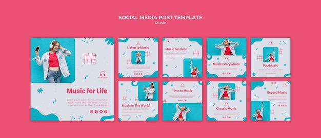 Music social media posts template with photo