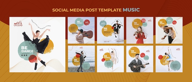 Music social media posts template