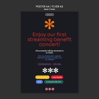 Music streaming platform flyer template
