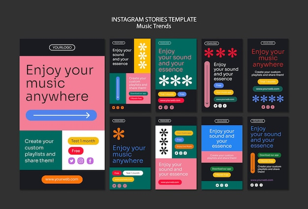 Music streaming platform instagram stories template