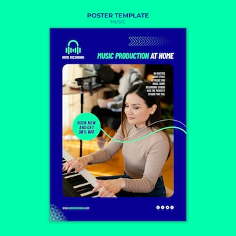 Music studio discount poster template
