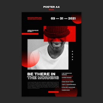 Music tickets sale poster template