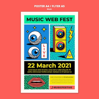 Music web fest poster template