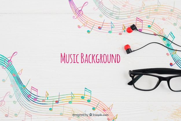 Musical notes background and glasses