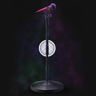Музыкальная сцена с микрофоном. 3d рендеринг