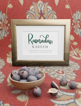 Muslim new year with figs on floral background