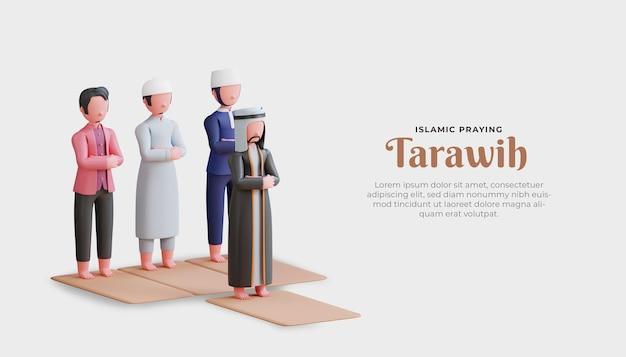 Мусульмане совершают молитву таравих с трехмерным персонажем