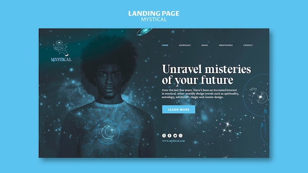 Mystical concept landing page template