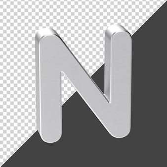 3d 렌더링에서 실버로 만든 n 편지 3d 현실적인 편지 n