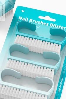 Nail brushes blister mockup, close up